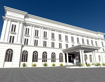 Desain perkantoran dengan konsep arsitektur klasik