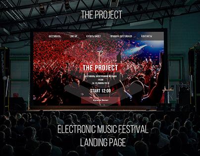 Electronic music festival promo landing