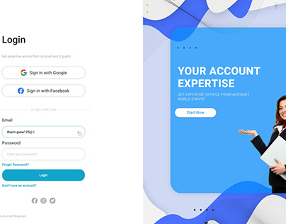 Login page for accounting service platform