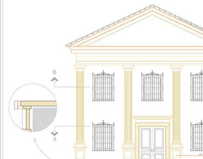 Facade remodeling proposal Natural stone pillar/column