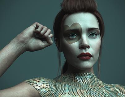 3d model portrait series, woman who does not exist.
