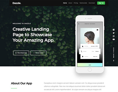 Dazzle - A Free Landing Page HTML Website Template