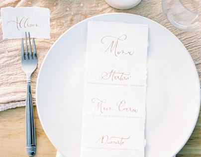 Wedding Menu and Placecards