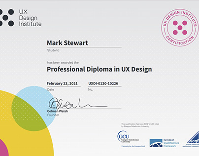 Qualified as a UX Designer