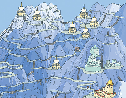 Labyrinth in Tibet. Editoriall illustration
