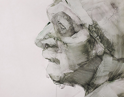Portrait of a man, drawing, tempera, 2018