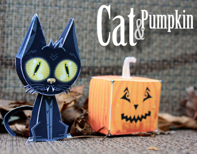Cats, Pumpkin & Trick or Treater paper toys
