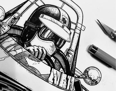 Detail image of pen & ink drawing