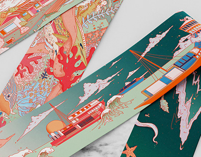 Silk Road Wonders - twilly scarf illustrations/designs