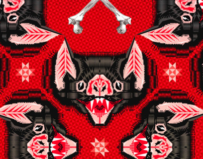 Vampire Bat Face Geometric Pattern 2012