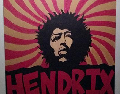 Jimi Hendrix Hand Painted on Reclaimed Wood