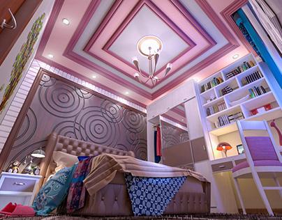 Smal bedroom for a teenage girl