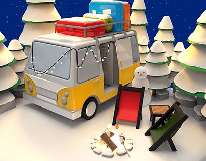 Caravan 3D Modelling: Winter Mode