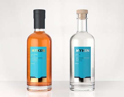 Myken - Whiskey & Gin - 3d product visualization