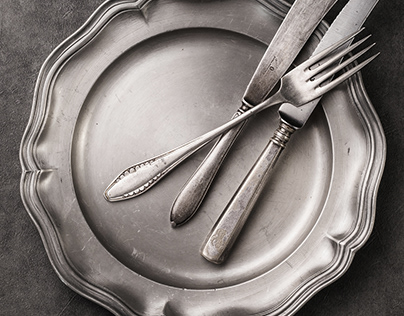 Vintage cutlery. Food photography