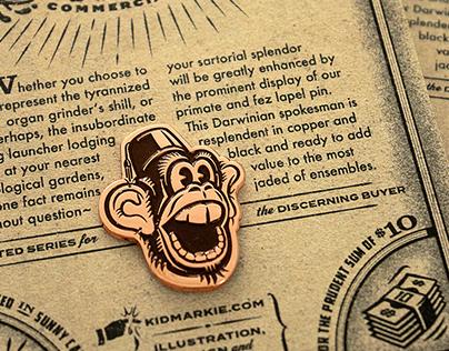 Monkey & Fez Lapel Pin
