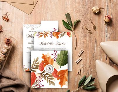 Convites de Casamento e Menu