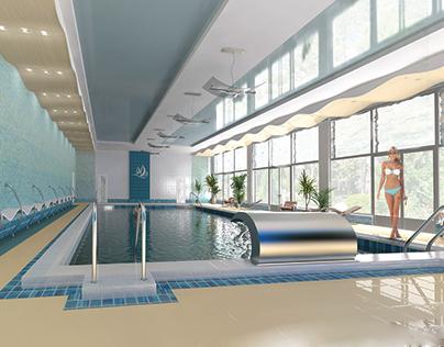 Interior Design. Swimming pool for the sanatorium