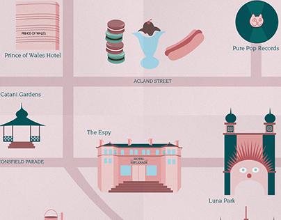 Vector Art | Illustrated Map of St. Kilda Hot Spots