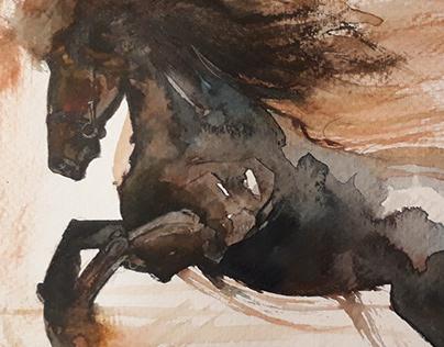 galloping fury watercolour