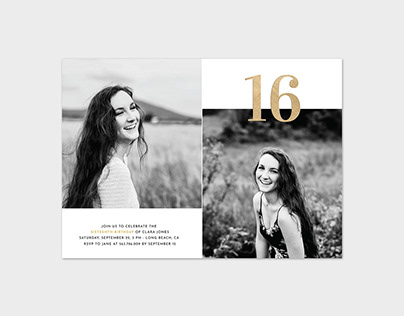 Sixteen Birthday Photo Card Template - Gold 16