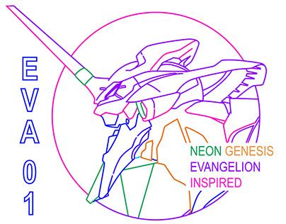 Eva 01 Vaporwave, Neon Genesis Evangelion inspired.