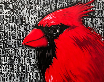 RED CARDINAL / Bird and Geometric typography