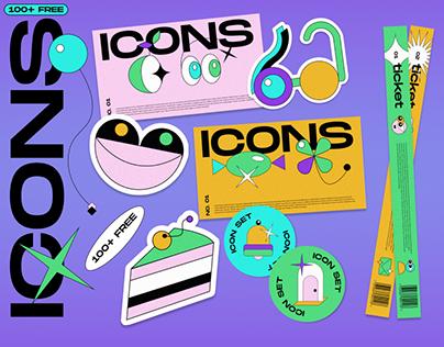 Free Trippy Icons & Stickers set (100+)