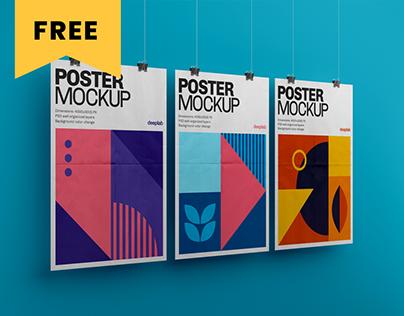 Vertical Poster Mockup Set - FREE