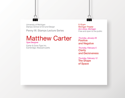 Posters: Matthew Carter Lecture