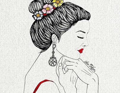 Spring Girl Hand draw illustration