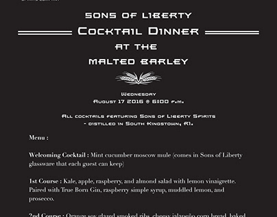 Sons of Liberty Cocktail Dinner Menu