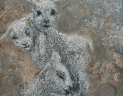 Three Textured Lambs