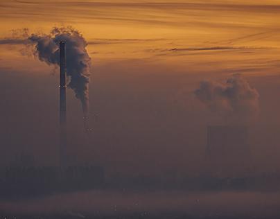 A frosty, smoky morning in Krakow
