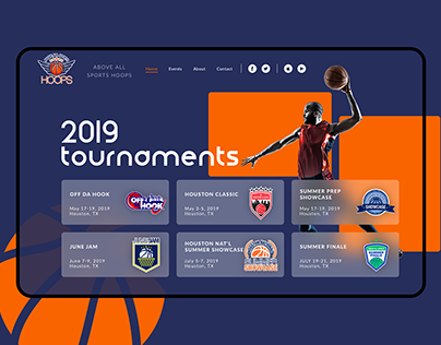 Landing page website Basketball tournaments