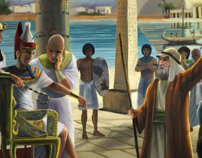 Moses & Pharaoh - Digital Illustration