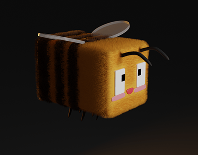 A minecraft bee with a fluffy butt