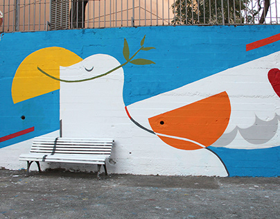 Participatory mural painted in Neus Catala High school