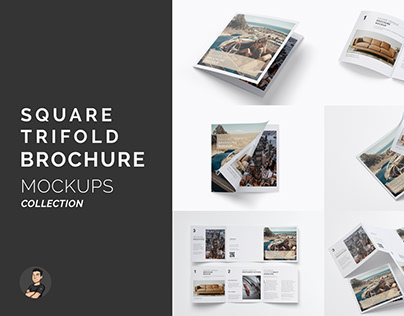 Trifold Brochure Mockups Collection / Free Bonus