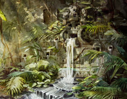 The ancient waterfall