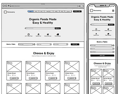 Restauranty Website Wireframe Design