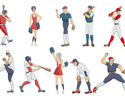 American baseball. Hand drawn illustration.