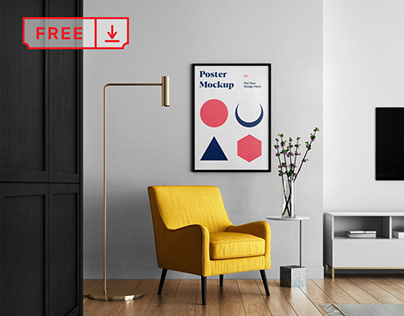 Free Living room with Poster Mockup