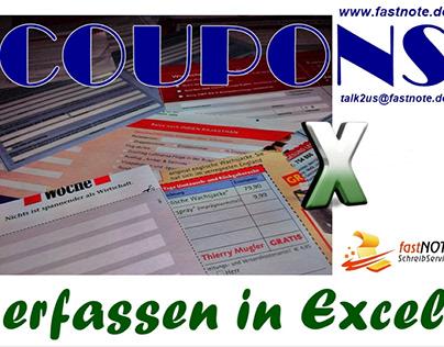 COUPONS erfassen in Excel fastNOTE SchreibService