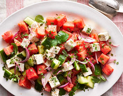 Watermelon, Cucumber & Feta Salad - Annie Hurwich
