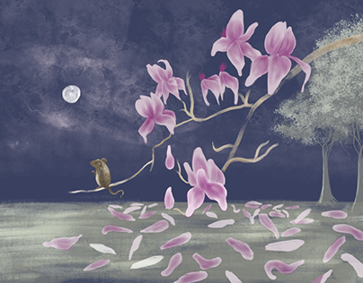 Pink magnolia moon & mouse