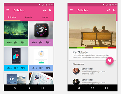 Dribbble Android UI