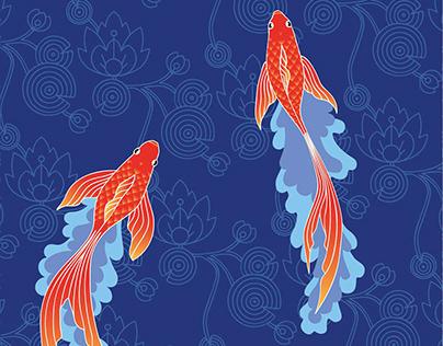 goldfish & waterlilies