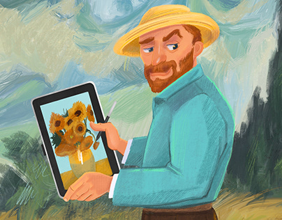 Famoust artists Ilustrations for Wacom brand packing