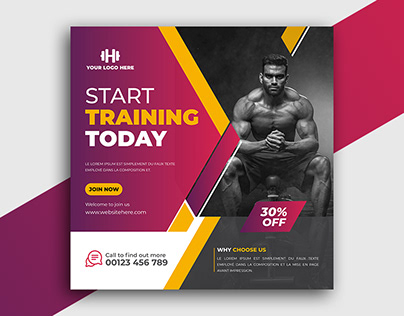 Gym social media post design-fitness post design